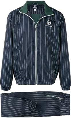 Andrea Crews striped two piece suit