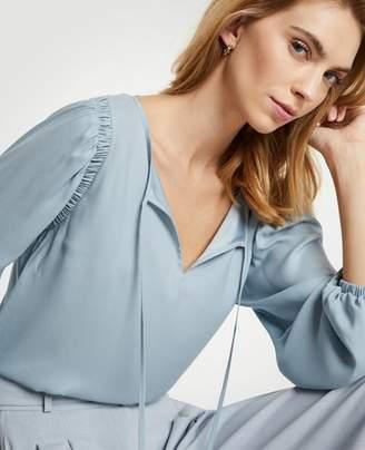 Ann Taylor Petite Shirred Shoulder Blouse