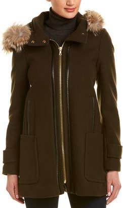 Trina Turk Allyson Wool-Blend Leather-Trim Parka