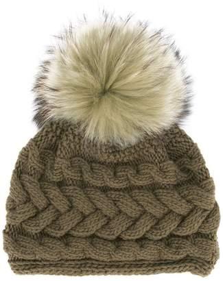 Inverni Beatrice raccoon fur pompom beanie