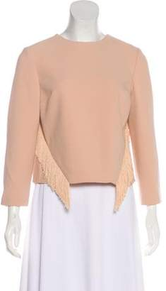 Jonathan Simkhai Long Sleeve Fringe-Trimmed Top