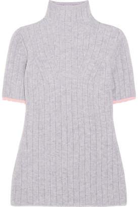 Victoria Beckham - Ribbed Wool-blend Turtleneck Sweater - Gray