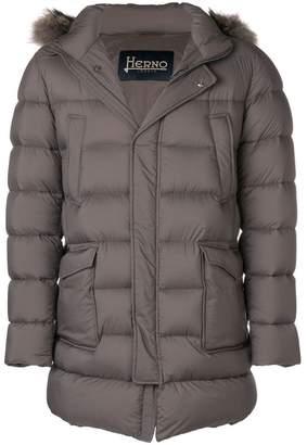 Herno patch pocket fur-trimmed puffer coat