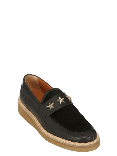 Givenchy Ponyhair & Leather Studded Loafers