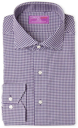 Lorenzo Uomo Purple Gingham Trim Fit Dress Shirt