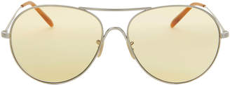 Oliver Peoples Rockmore Light Yellow Aviator Sunglasses