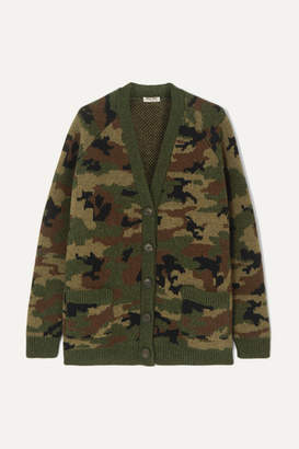Miu Miu Camouflage-intarsia Wool Cardigan - Army green