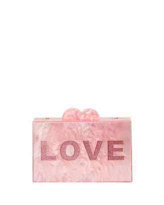Bari Lynn Girls' Like/Love Glittered Acrylic Box Clutch Bag