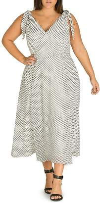 City Chic Plus Alika Polka-Dot Crossover V-Neck Midi Dress