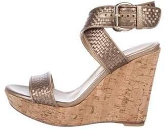 Stuart Weitzman Woven Leather Wedge Sandals