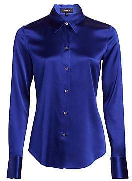Theory Women's Satin Button-Down Shirt