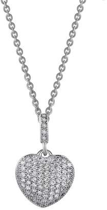 Lafonn Platinum Plated Sterling Silver Simulated Diamond Puffy Heart Pendant Necklace