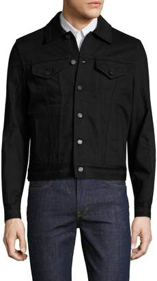 Givenchy Men's Distressed Spread Collar Denim Jacket
