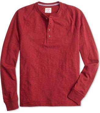 Brooks Brothers Men's Red Fleece Textured-Knit Raglan-Sleeve Henley