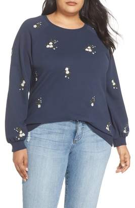 Caslon Embroidered Cotton Sweatshirt