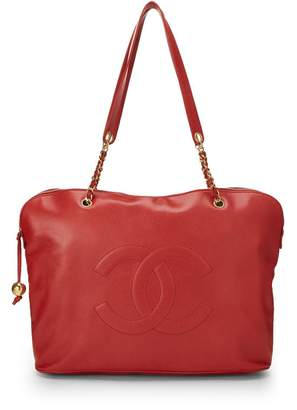 Chanel Red Caviar Zip Tote Jumbo
