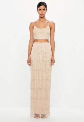 Missguided Nude Fringe Embellished Maxi Skirt