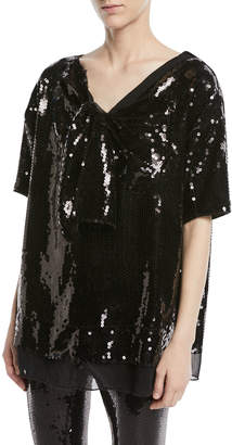 Marc Jacobs Short-Sleeve V-Neck Sequined Top w/ Bow