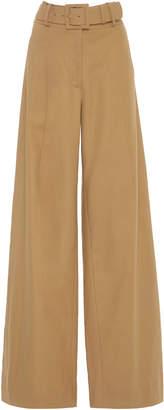 Oscar de la Renta Belted High-Waist Wide Leg Pants