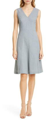 Rebecca Taylor Tailored by Sleeveless Linen Blend Fit & Flare Dress