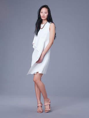 Diane von Furstenberg Sleeveless Ruffle Front Linen Dress