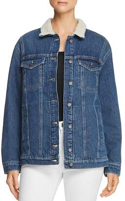Mavi Jeans Karla Sherpa-Trimmed Denim Jacket in Mid '90s