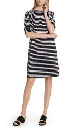 Eileen Fisher Stripe Organic Linen Knit Shift Dress
