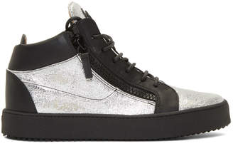 Giuseppe Zanotti Black and Silver Kriss High-Top Sneakers
