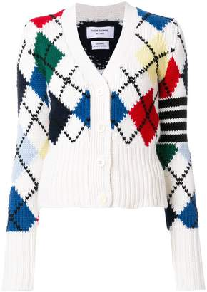 Thom Browne argyle knit V-neck cardigan