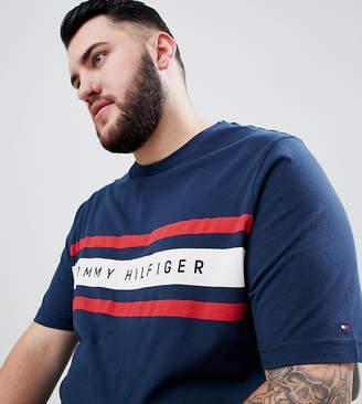 Tommy Hilfiger Big & Tall Icon Stripe Logo Print T-Shirt In Navy