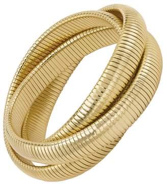 Janis Savitt High Polished Gold Triple Cobra Bracelet