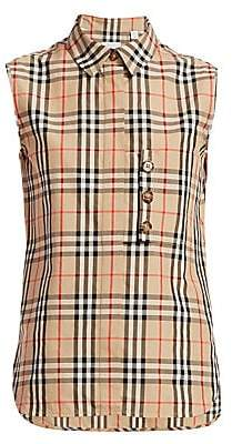 Burberry Women's Palila Check Print Sleeveless Shirt