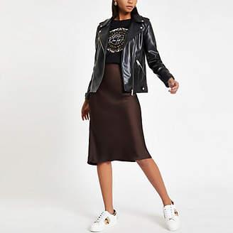 River Island Brown bias cut midi skirt