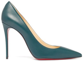 Christian Louboutin Kate 100 Leather Pumps - Womens - Dark Green
