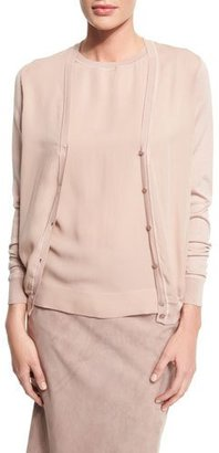 Ralph Lauren Collection V-Neck Button-Front Cardigan, Rose $1,290 thestylecure.com