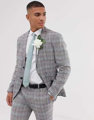Selected slim suit jacket in check cotton linen