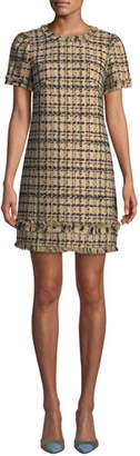 Kate Spade Bicolor Tweed Crewneck Short-Sleeve Mini Dress w/ Fringe Trim