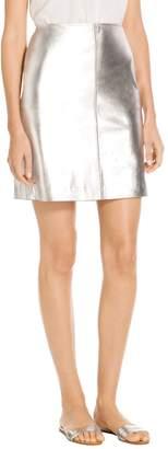St. John Metal Free Metallic Nappa Leather Mini Skirt