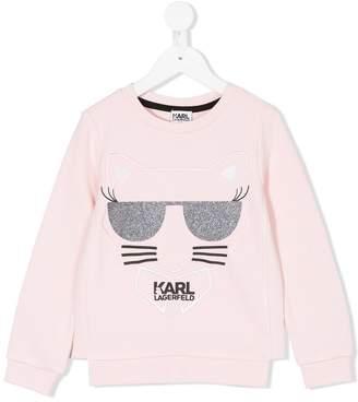 Karl Lagerfeld glitter cat sweatshirt