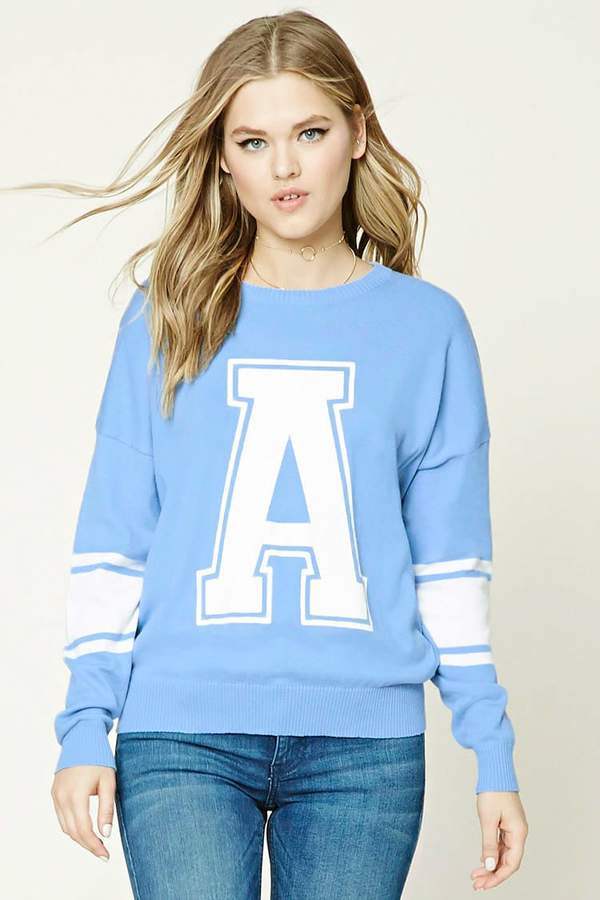 FOREVER 21+ A Graphic Varsity Sweater