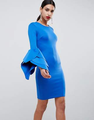 Club L London Sleeve Detail Scuba Bodycon Dress