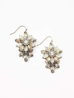Old Navy Beaded-Crystal Flower Drop Earrings for Women