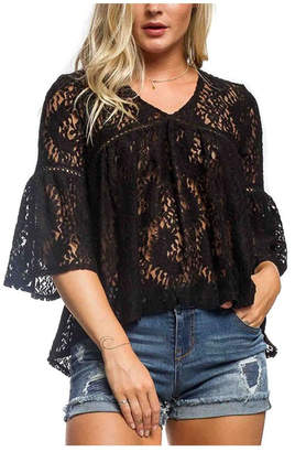Anama Lace Bell-Sleeve Blouse