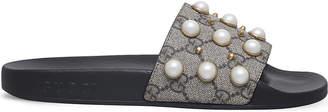 Gucci Pursuit pearl-embellished rubber slider sandals