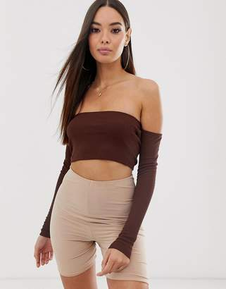 7354a00c20c Asos Design DESIGN long sleeve off shoulder rib super crop top in brown
