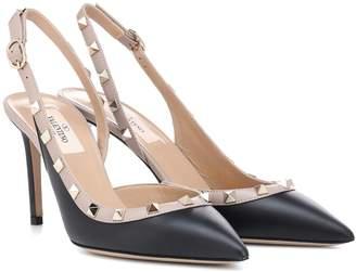 Valentino Rockstud leather slingback pumps