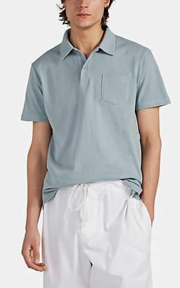 Sunspel Men's Mesh-Knit Cotton Polo Shirt - Blue