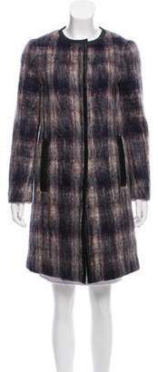 Prada Leather-Trimmed Mohair Coat