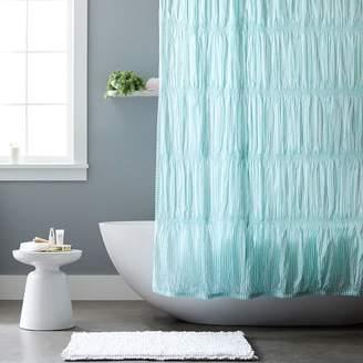 Pottery Barn Teen Harper Stripe Shower Curtain, Pale Seafoam