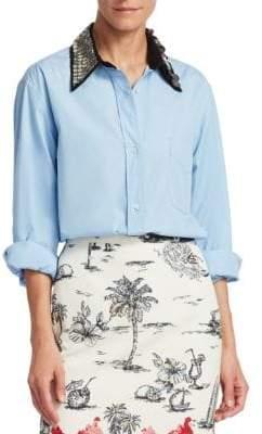 No.21 No. 21 No. 21 Women's Sequin Collar Button-Down Shirt - Azzurro - Size 42 (8)